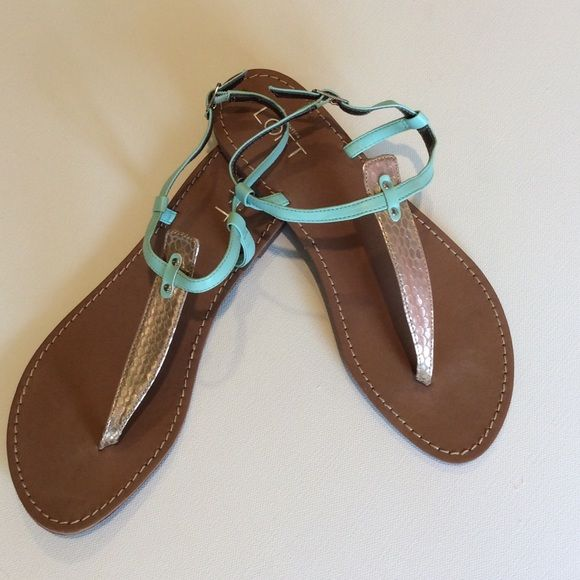 LOFT t-strap sandal Gold tone faux snake skin t-strap sandal with light teal straps. Like new, just a tad of wear on sole but almost new. LOFT Shoes Sandals