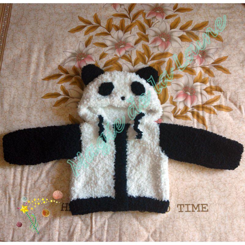 Manteau panda pour enfant avec manches tricot avec doudou une laine tr s douce avec des - Laine pour tricoter avec les bras ...