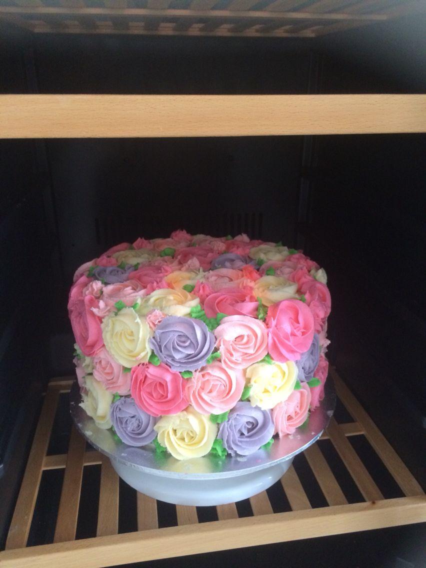 Buttercream Rosette Cake Multicoloured Rosettes With