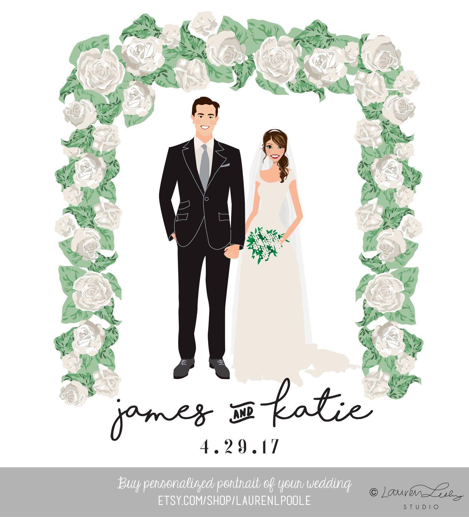 Design Your Own Wedding Illustration Portrait.