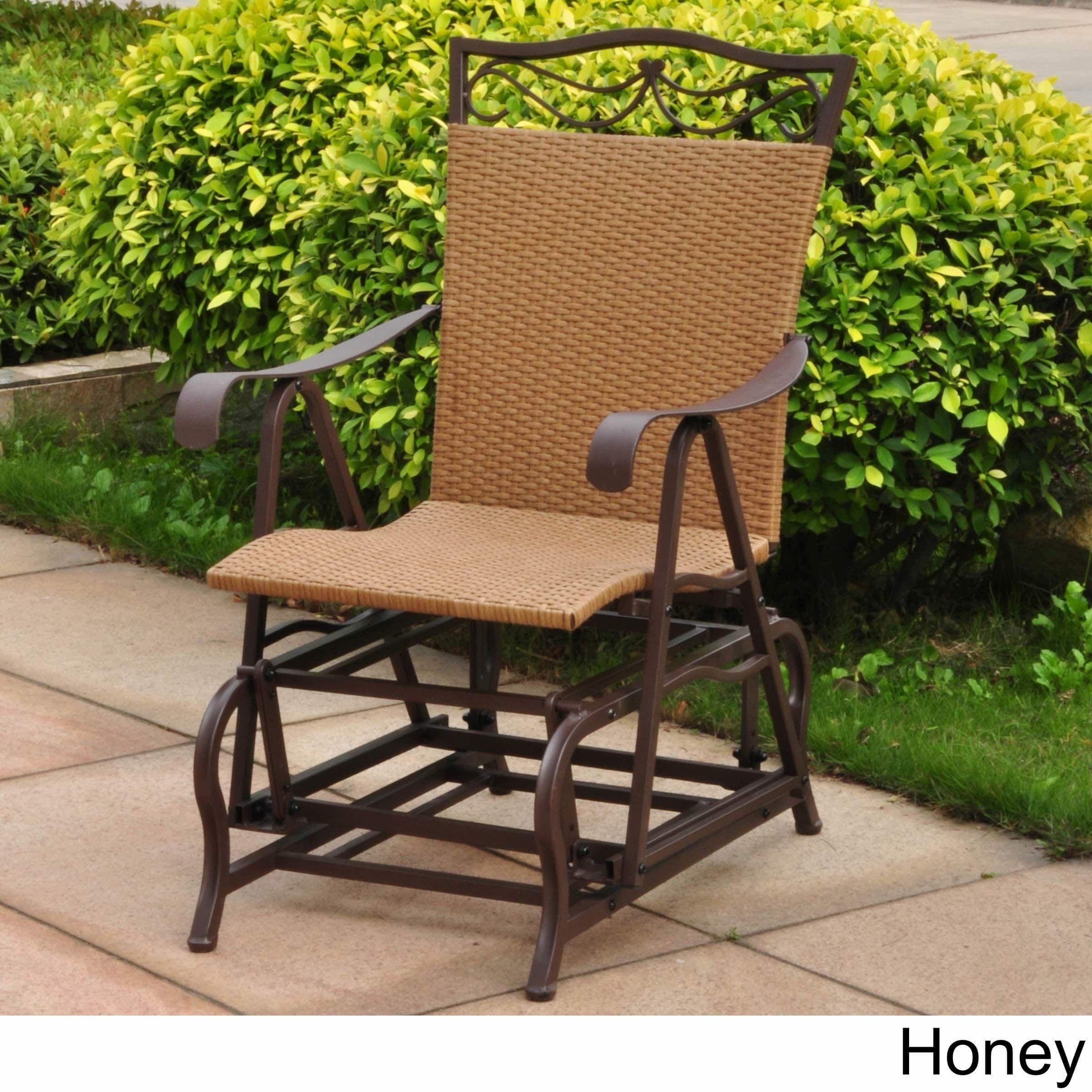 International caravan valencia resin wicker steel frame single glider chair honey beige patio furniture metal