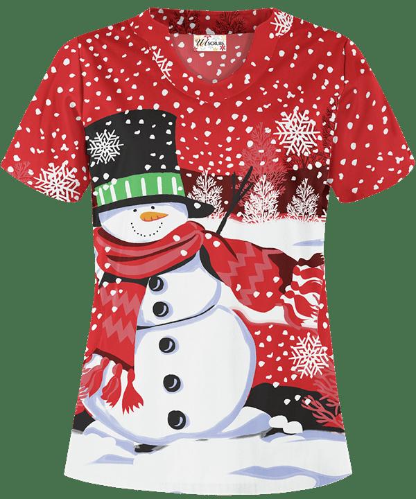 UA Snow Season Red Print Scrub Top Red scrubs, Cute
