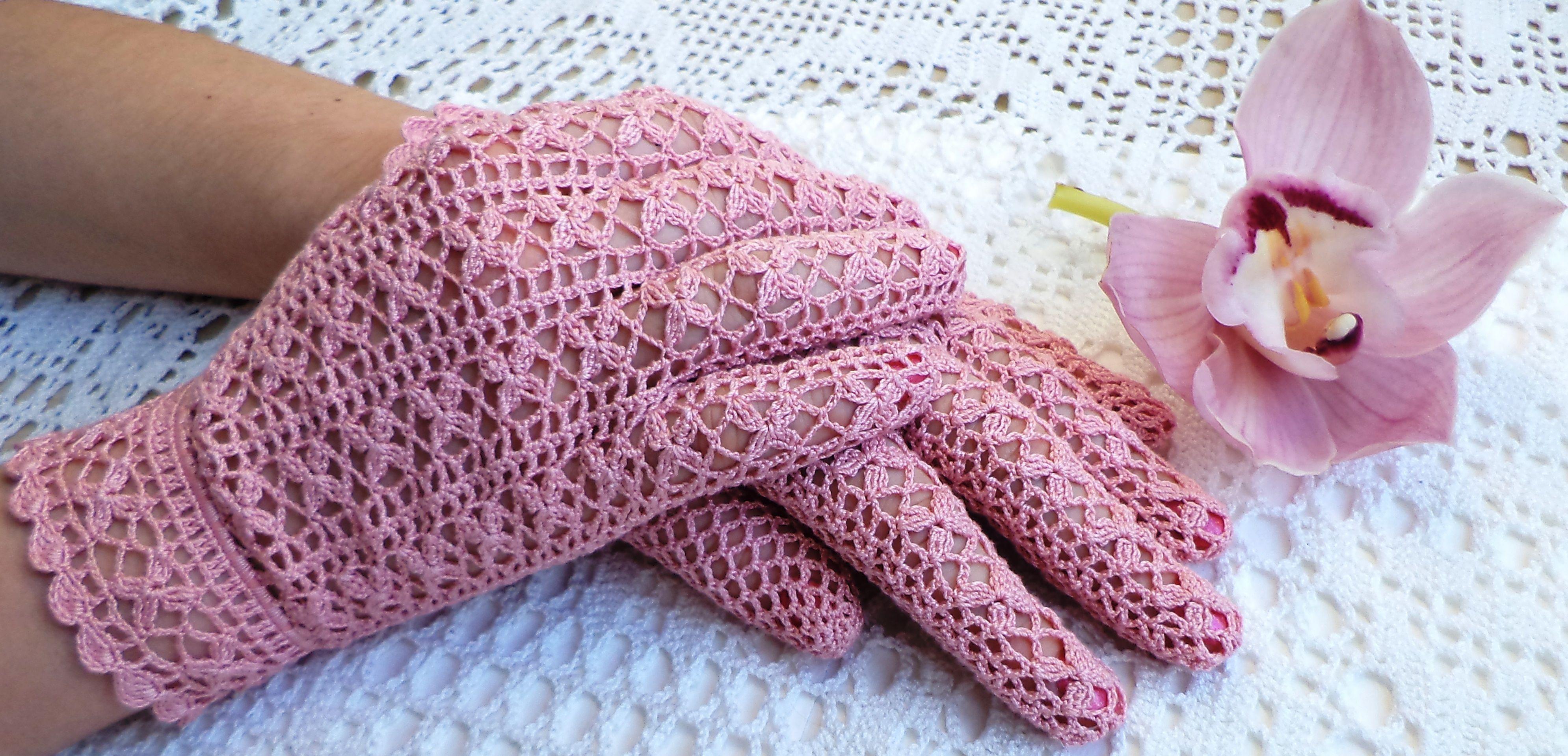 Vintage Crochet Pattern By Coats Flower Gloves Pink Patronen
