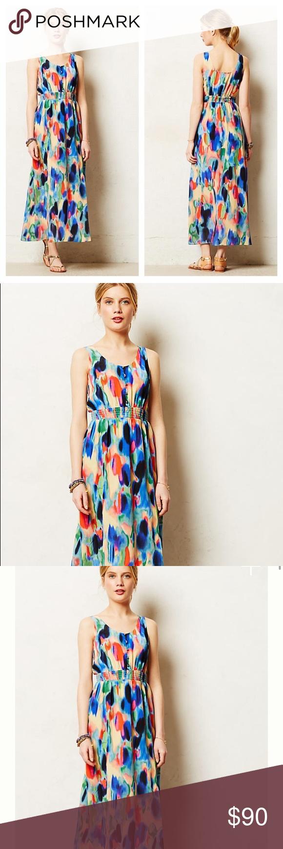 Anthro Maeve Watercolor Aloisia Silk Maxi Clothes Design Fashion Anthropologie Dress [ 1740 x 580 Pixel ]