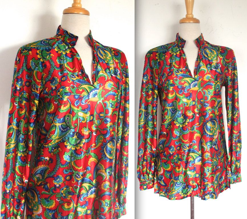 Vintage 1960s Blouse // 60s 70s Psychedelic Paisley Floral