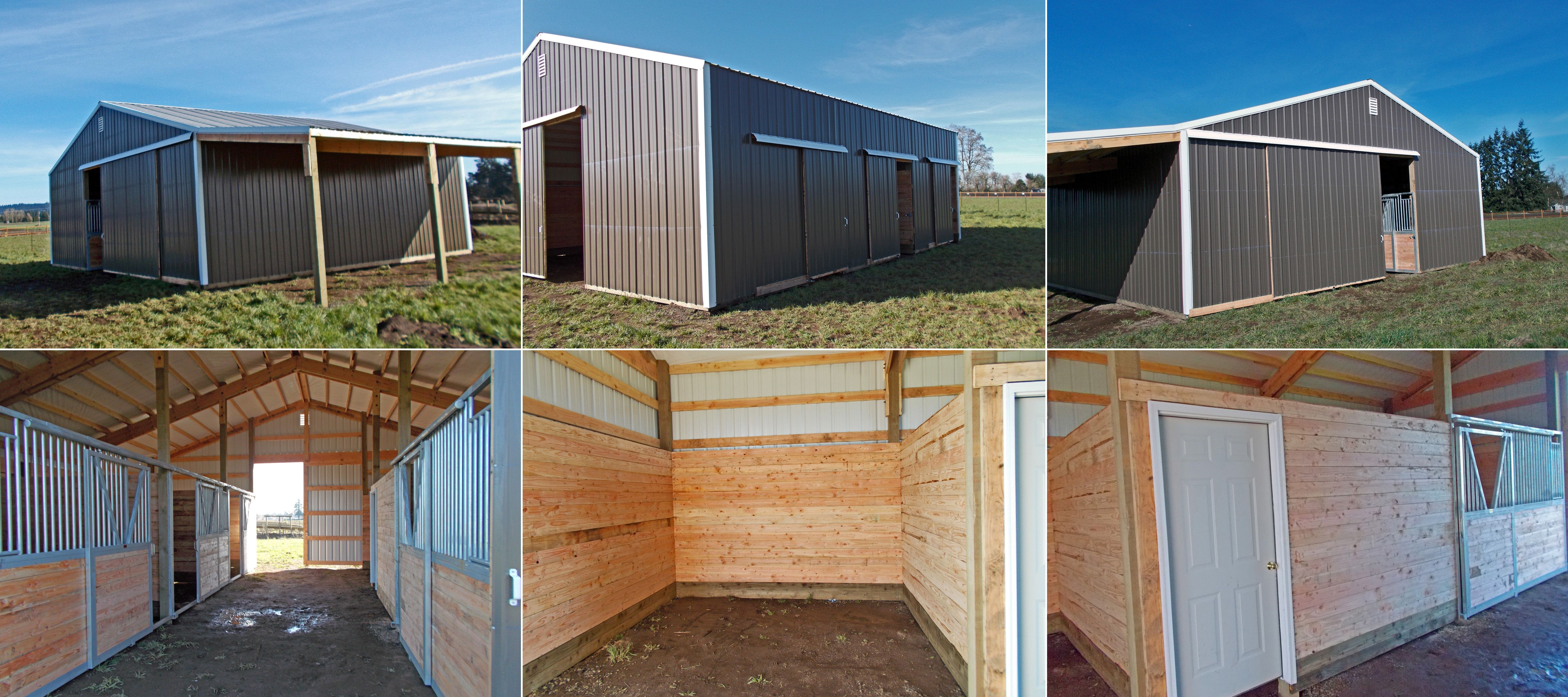 36 X 36 X 12 Horse Barn With A Lean Too Horse Stalls And Tack Room Www Econofabbuildings Com Barn Layout Pole Barn Construction Slider Door