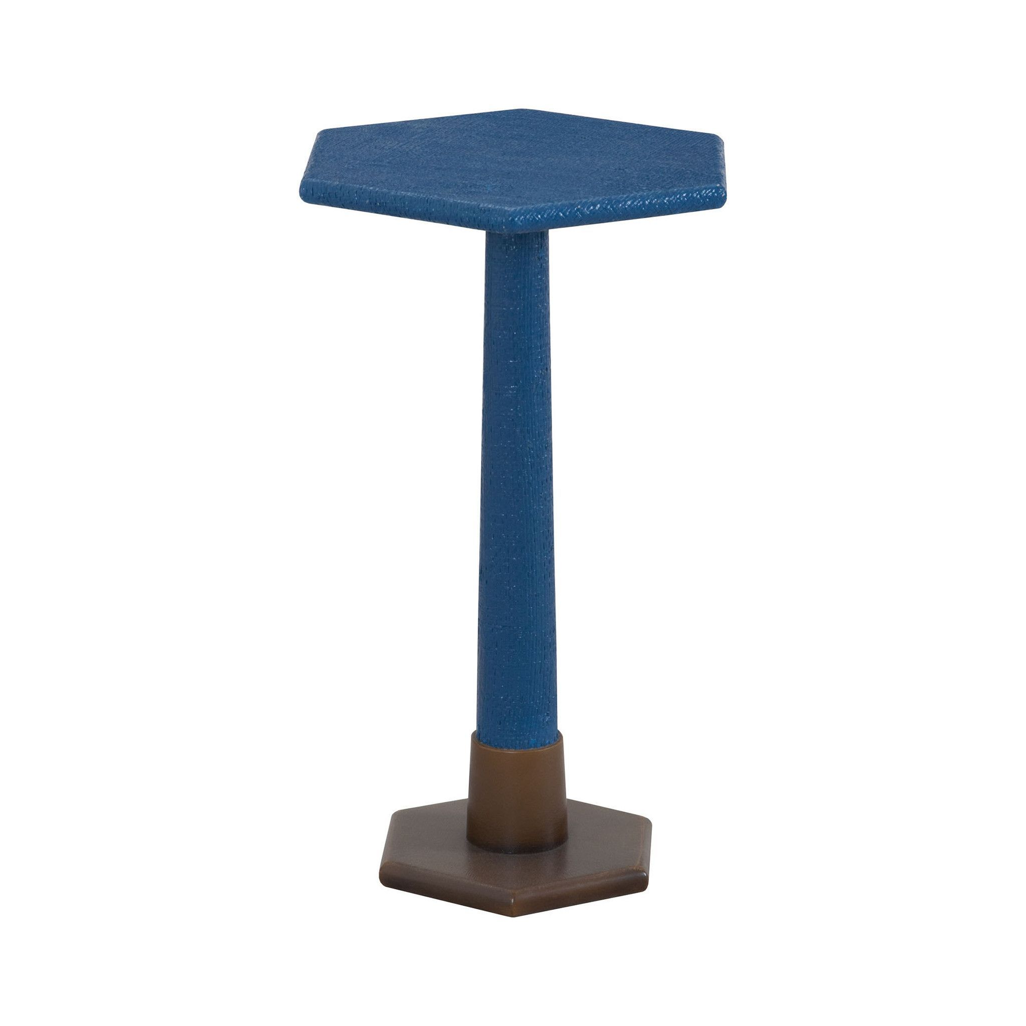 Launch Pad Navy Blue Accent Table Natural Raffia,Navy,Aged Brass Tone