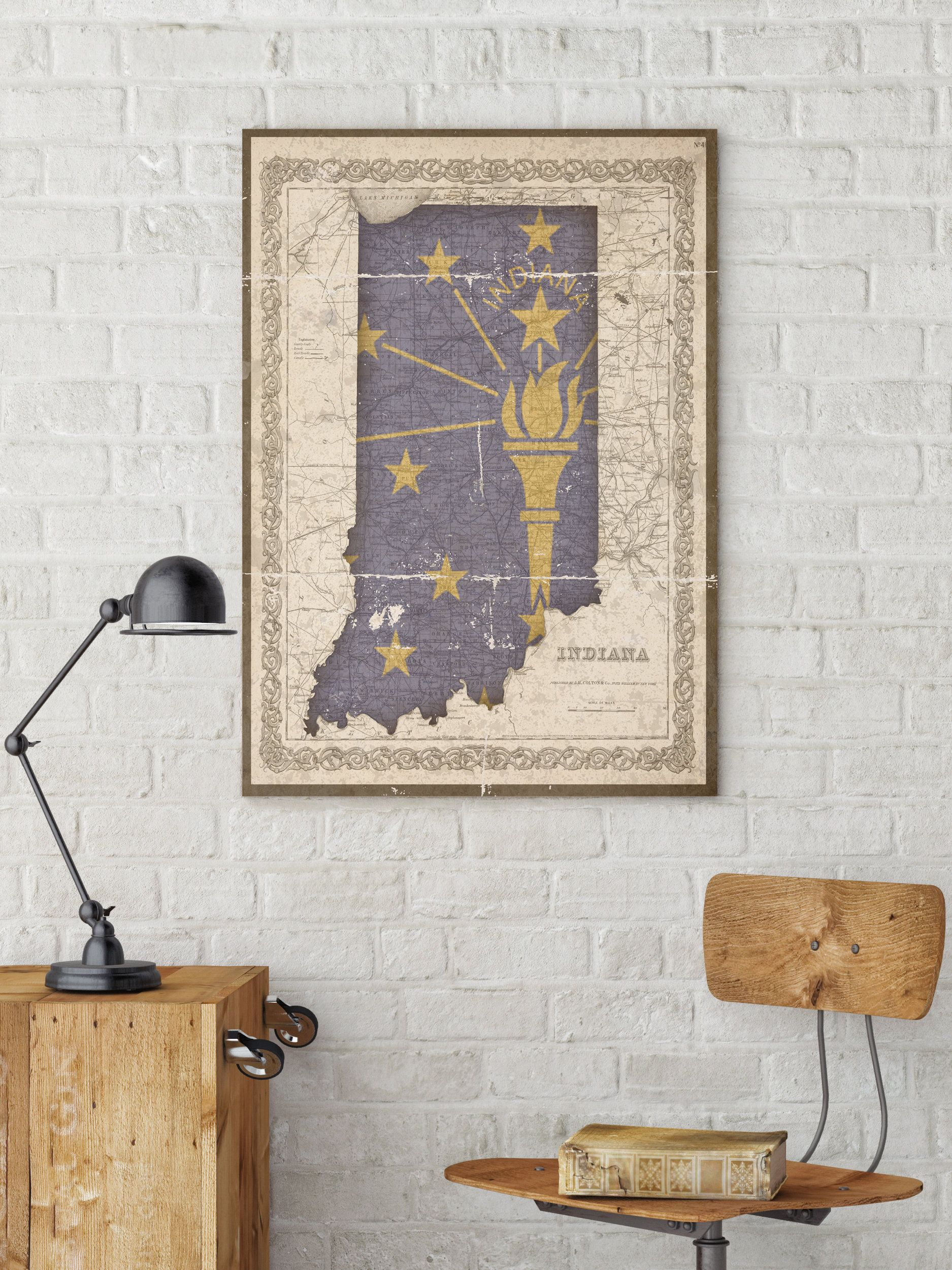 Indiana, Indiana State Map, Indiana Flag, Vintage Flag, Indiana Map on florida wall map, indiana state house map, indiana state world map, indiana state on us map, indiana state political map, indiana state travel map, indiana state road map, california wall map, new orleans wall map, indiana state township map, indiana state usa map, north carolina wall map,