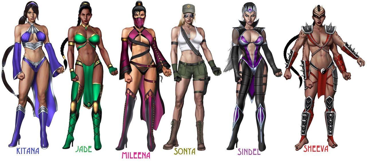 Kitana Jade Mileena Sonya Blade Sindel Sheeva Mortal Kombat