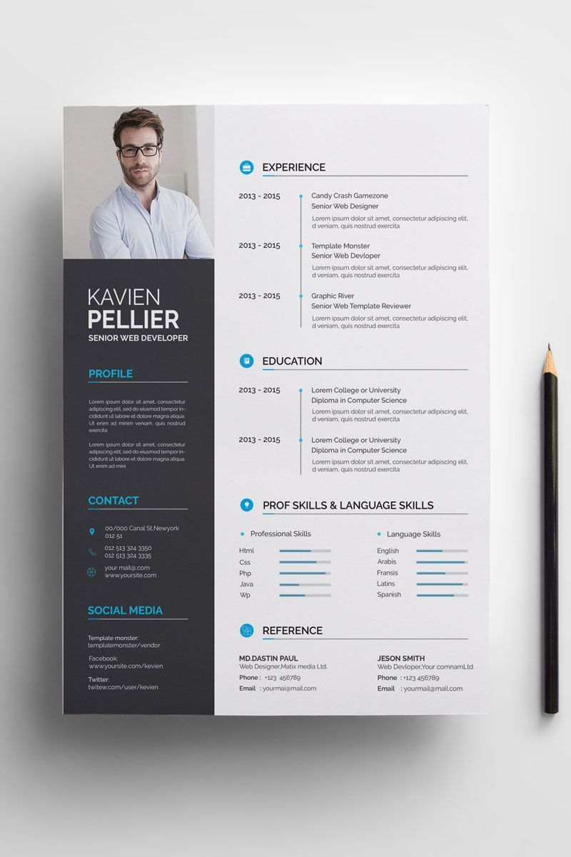 Clean and Creative Kavien Pellier Resume Template, Kavien