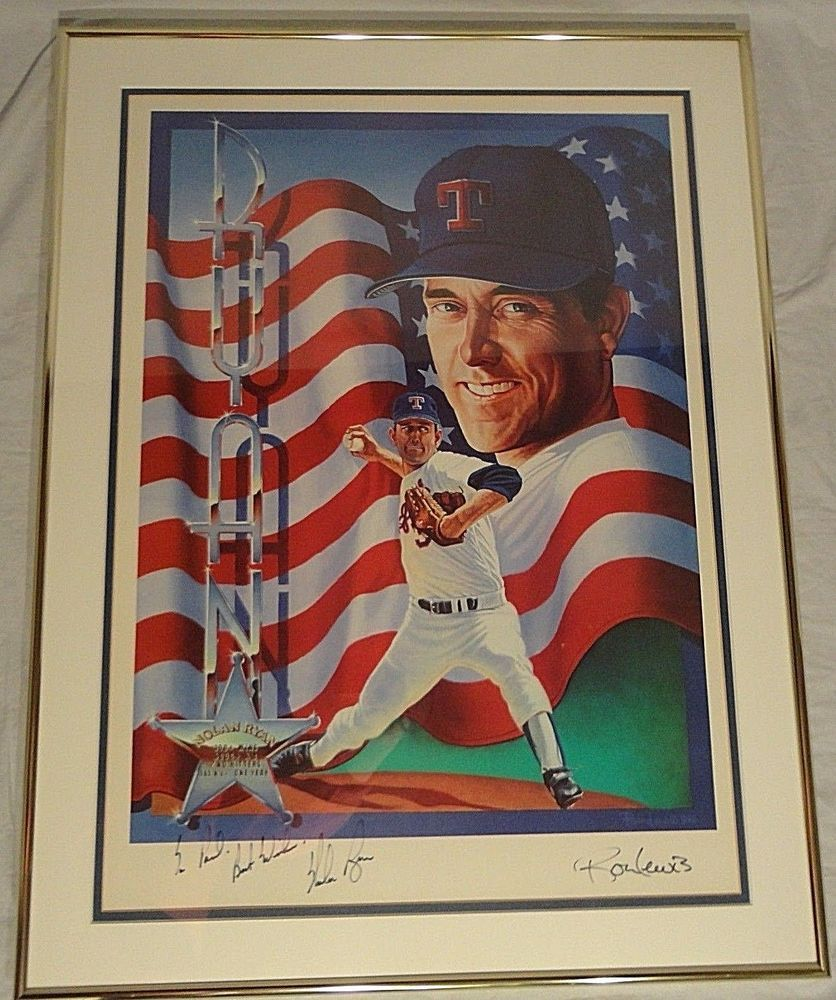 Nolan Ryan Signed Autographed Print Ron Lewis Texas Rangers Framed Personalized Texasrangers Nolan Ryan Texas Rangers Ranger