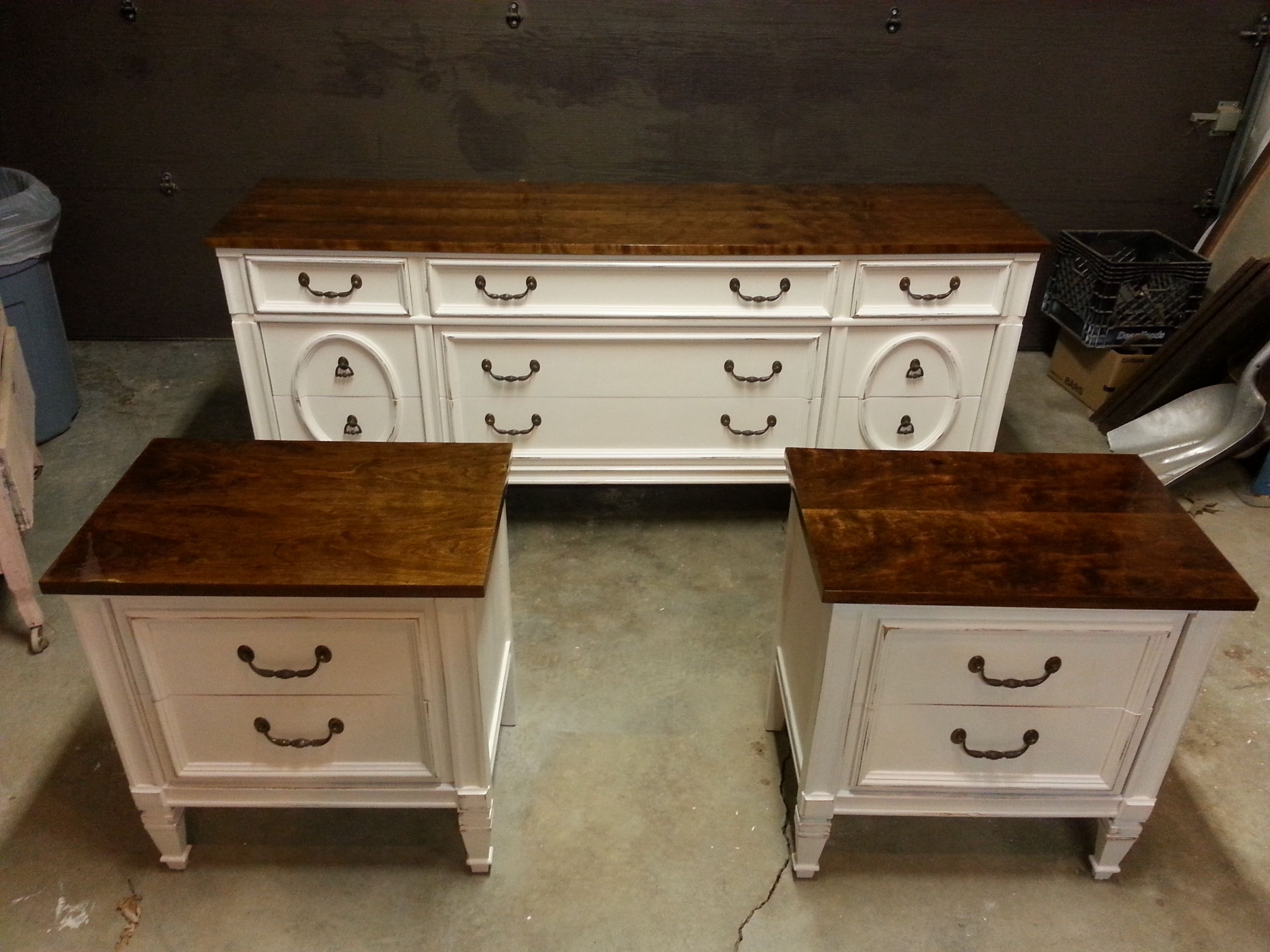 Vintage bassett dresser and night stand set painted antique white and lightly distressed then a dark maple stain on top furniture redo