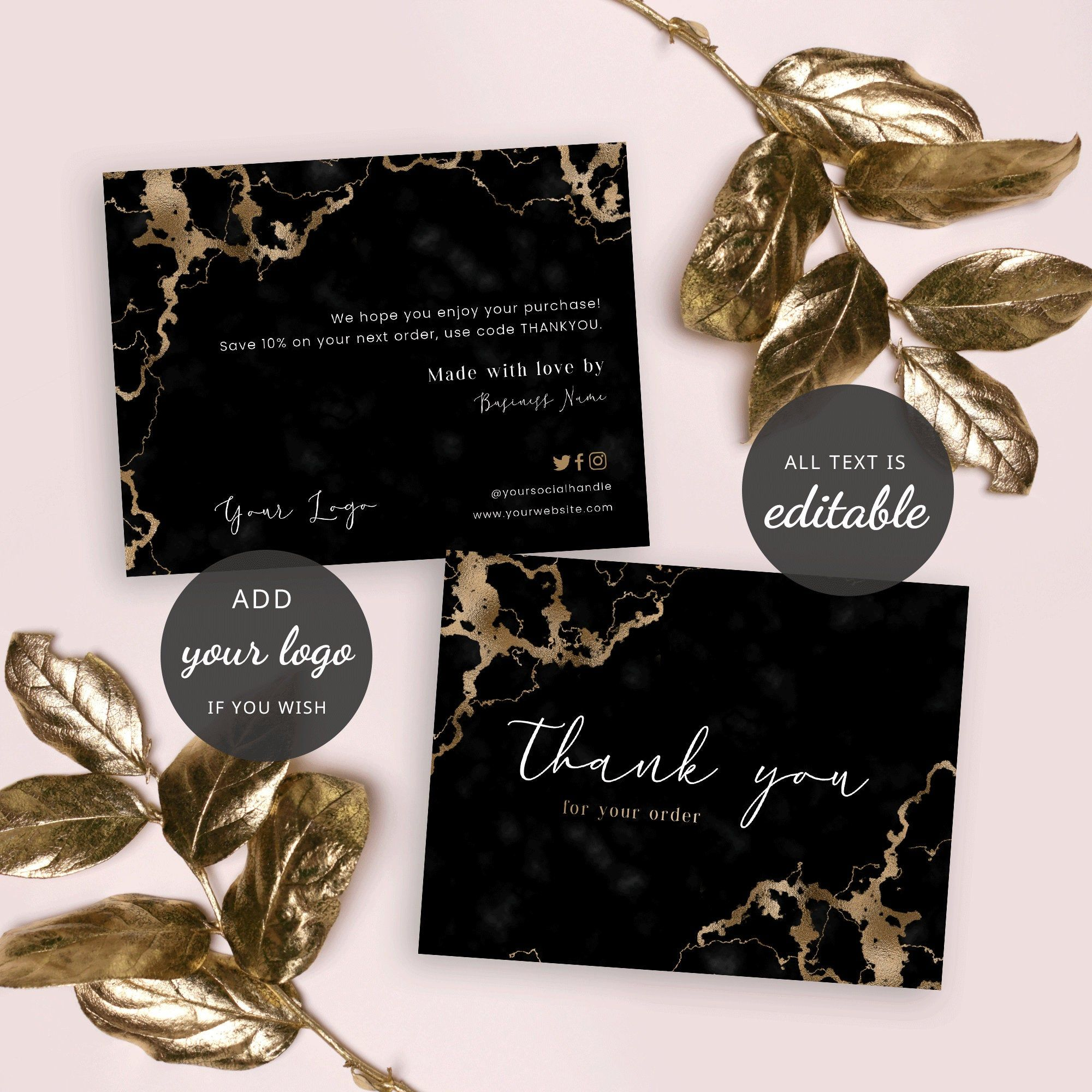 Thank You For Order Card Template Diy Thank You Card Small Etsy Business Thank You Cards Thank You Note Cards Card Template