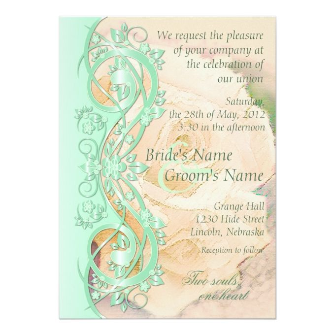 Elegant scroll wedding invitation mint green peach invitation elegant scroll wedding invitation mint green peach 5 x 7 invitation card stopboris Images