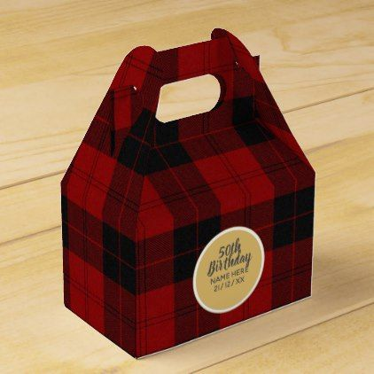 Create Own 50th Birthday Buffalo Red Personalized Favor Box