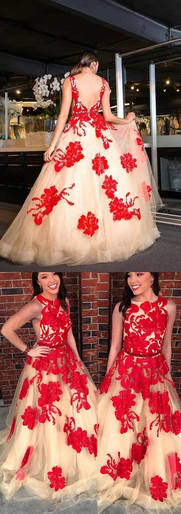 Chic prom dresses bateau open back red appliques prom dress long