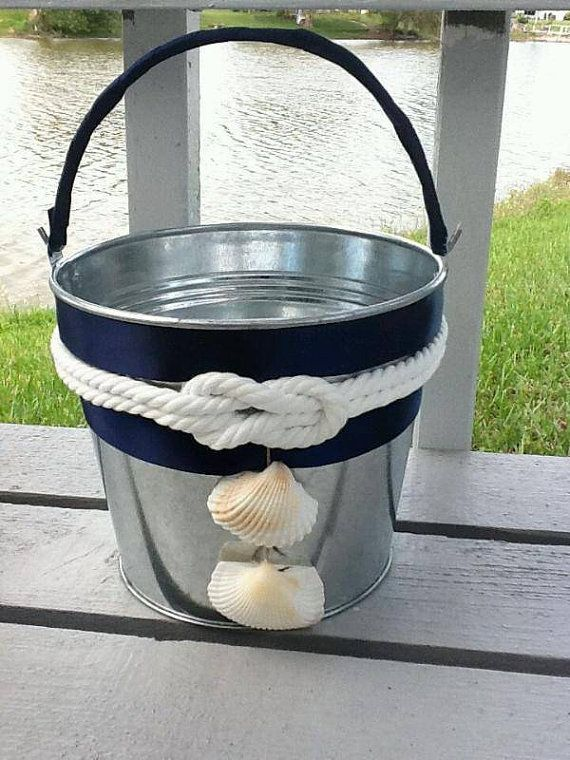 Nautical Knot Flower girl Basket/Bucket-Navy by NauticalWeddings  on etsy.com $32.