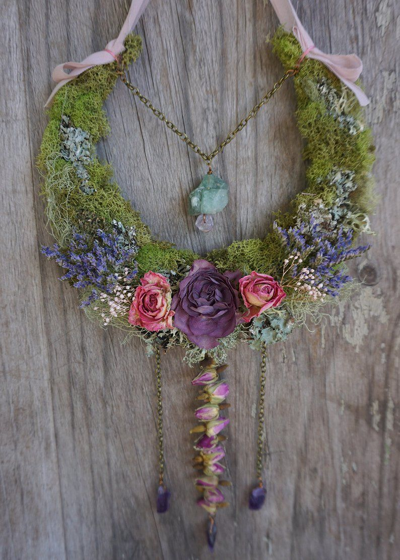 Photo of Faerie Moon Wall Hanging… dried flower wreath dream catcher witch mystical altar boho decor