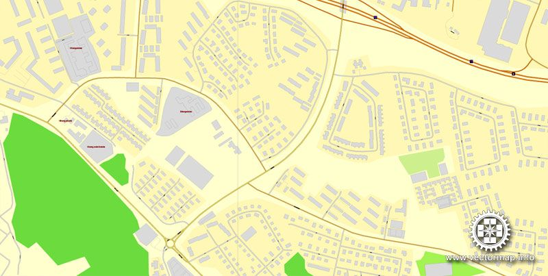 Vector Map Vsters Vasteras Sweden printable vector street map