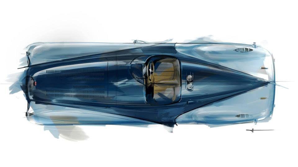 1937 Bugatti Type 57g Tank Top Down Design Sketch Sketches