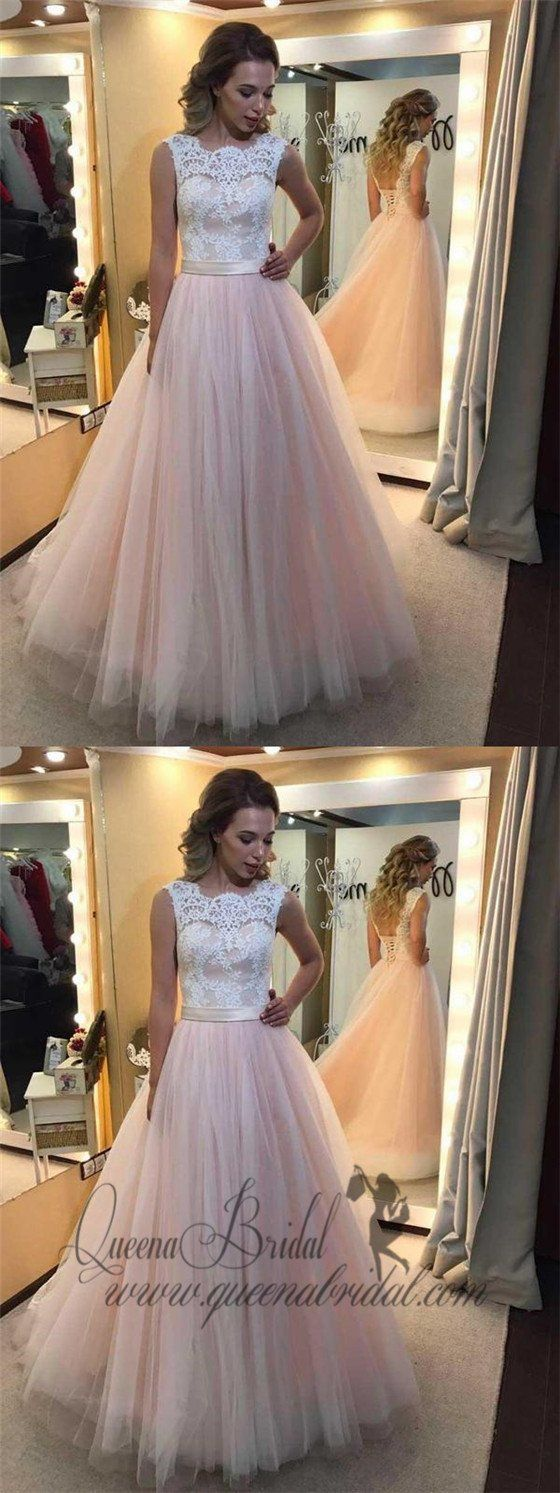 Aline light pink tulle prom dresses white lace applique quinceanera