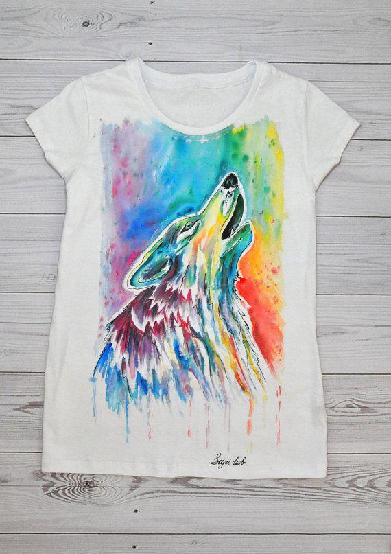 77c8020a Wolf Shirt, Wolf Women T Shirt, Hand Painted Shirt, Art Clothing,  Handpainted White T Shirt, Women T