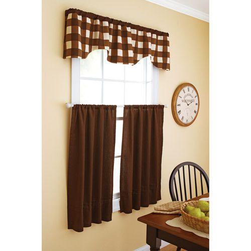 "Chocolate Brown Kitchen Curtain 40 X 24"" Tier Pair New"