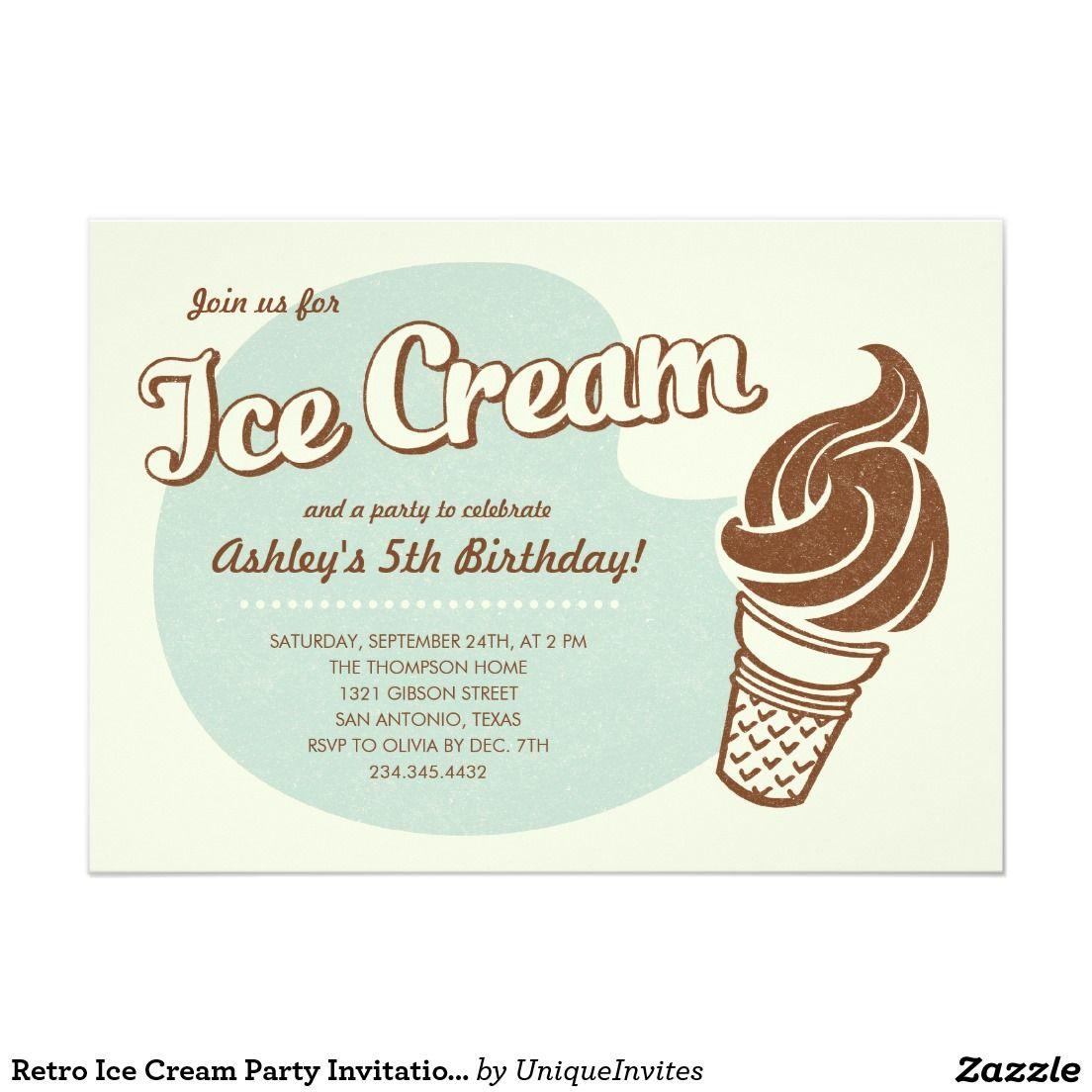 Retro Ice Cream Party Invitations   Party invitations