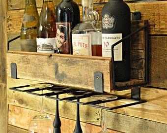 Historic Reclaimed Wood & Custom Steel Wine Rack with Stemware Hangers