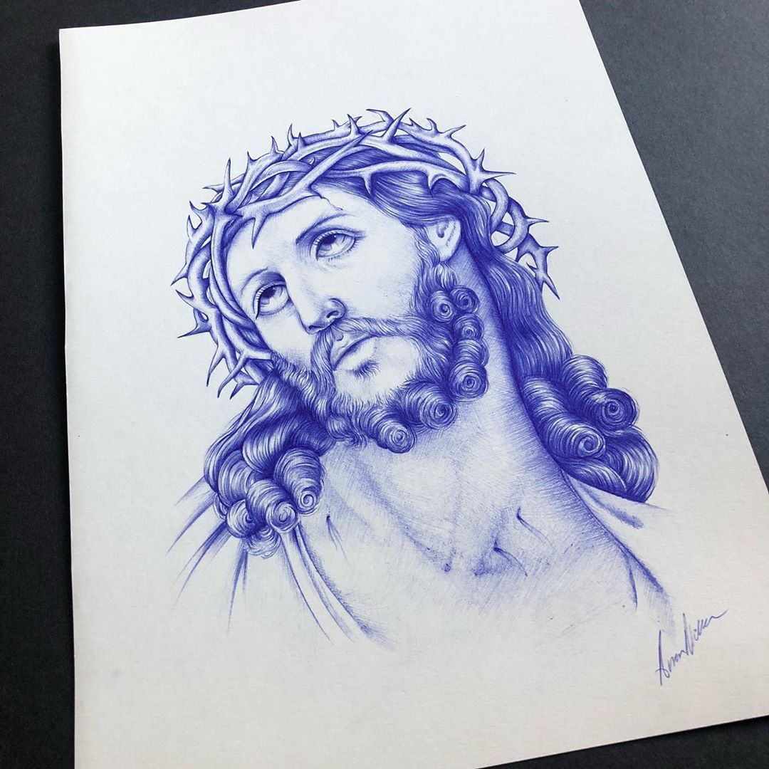 Jesus done in ballpoint pen on A4. Prints available at £15.  #tattoo #tattooart #art #tattooflash #tattooapprentice #drawing #ballpointpen #jesus #jesuschrist #northsea #scarborough #york #leeds #flash #flashsheet #jesustattoo