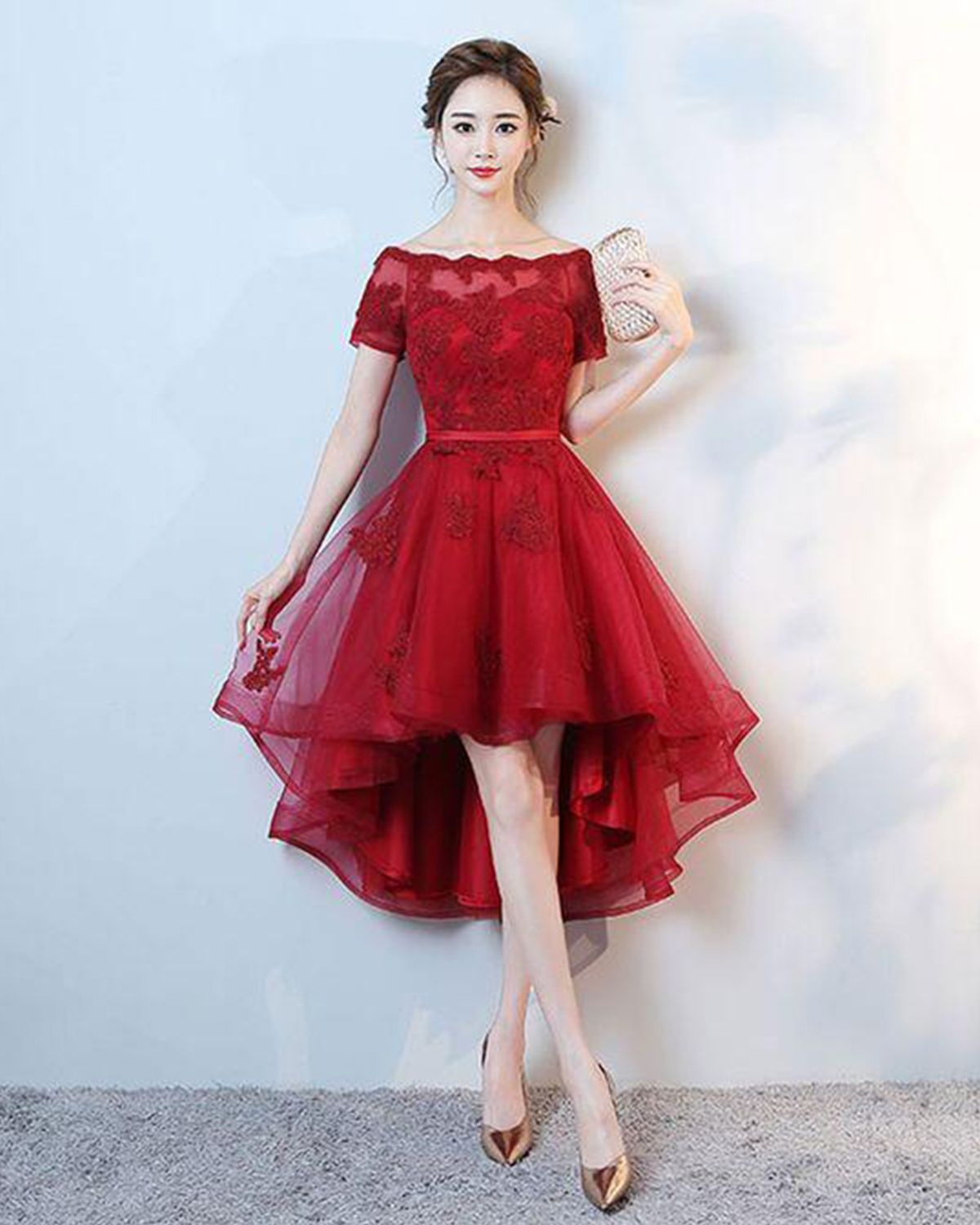 2df93291c7b91 Red tulle off shoulder high low lace appliqués party dress with ...