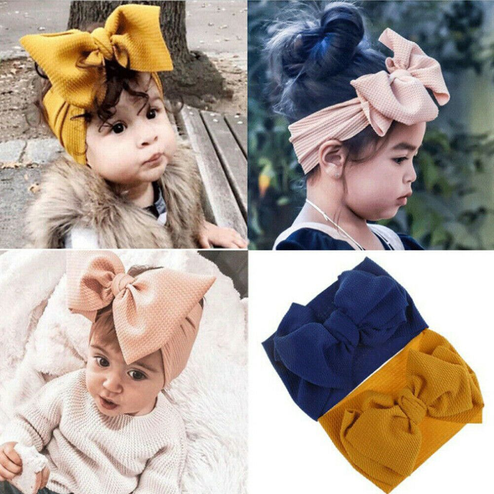 Baby Toddler Kids Girl Large Bow Headband Hair Band Headwear Head Wrap
