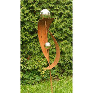 Rost gartendeko rost stecker mit 2 edelstahlkugeln for Gartendeko stecker