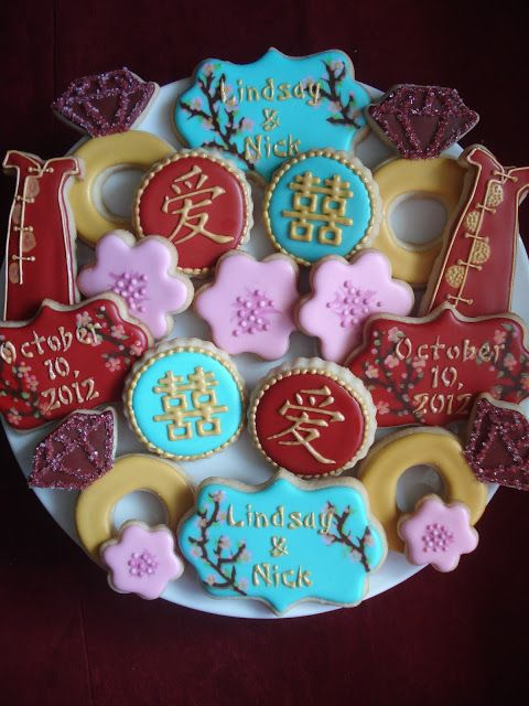 chinese themed bridal shower cookie platter