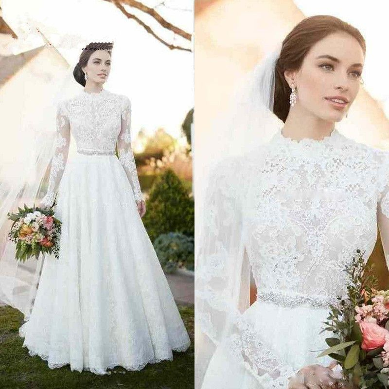 High Neck Vintage Lace Wedding Dresses 2017 Appliques Illusion Long ...