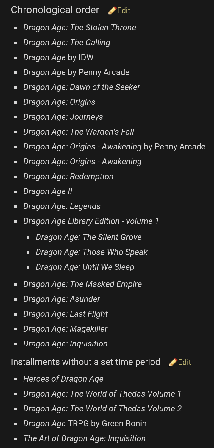 #Dragon #Age #timeline Chronological order http://dragonage.wikia.