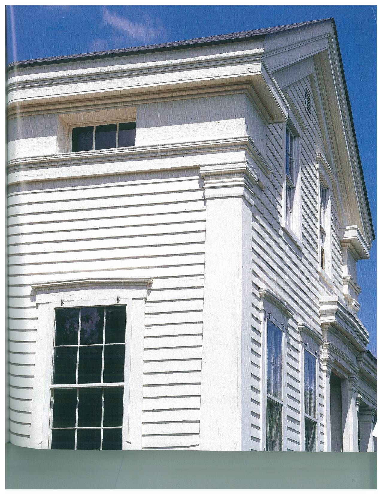 Exterior Cornice Trim And Windows In The Frieze Boards Colonial Trim Over The Windows Built Up He Greek Revival Home Greek Revival Architecture Greek Revival