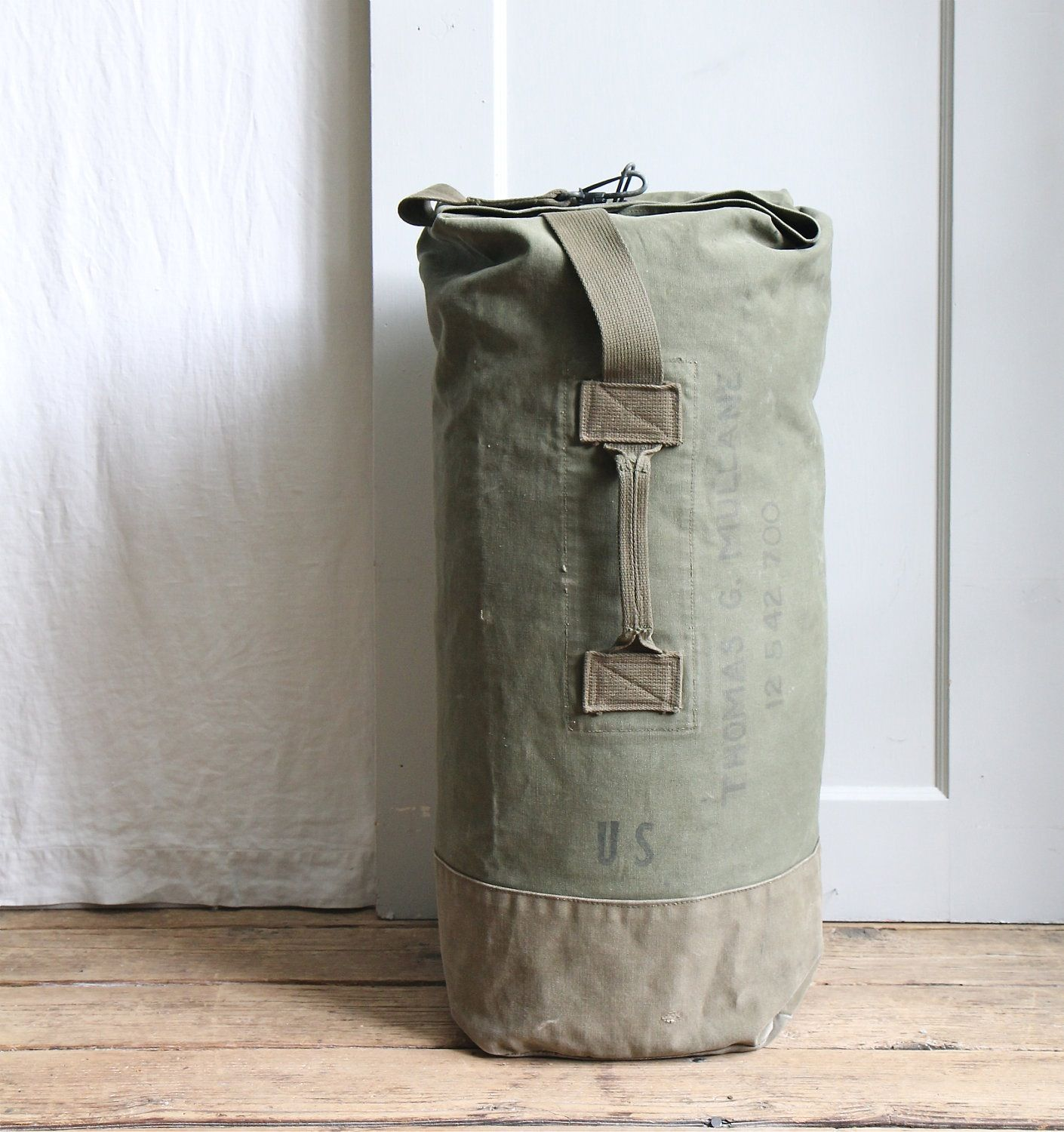 Canvas Duffle Duffel Bag Top Opening  with Handle /& Backstraps Army Style