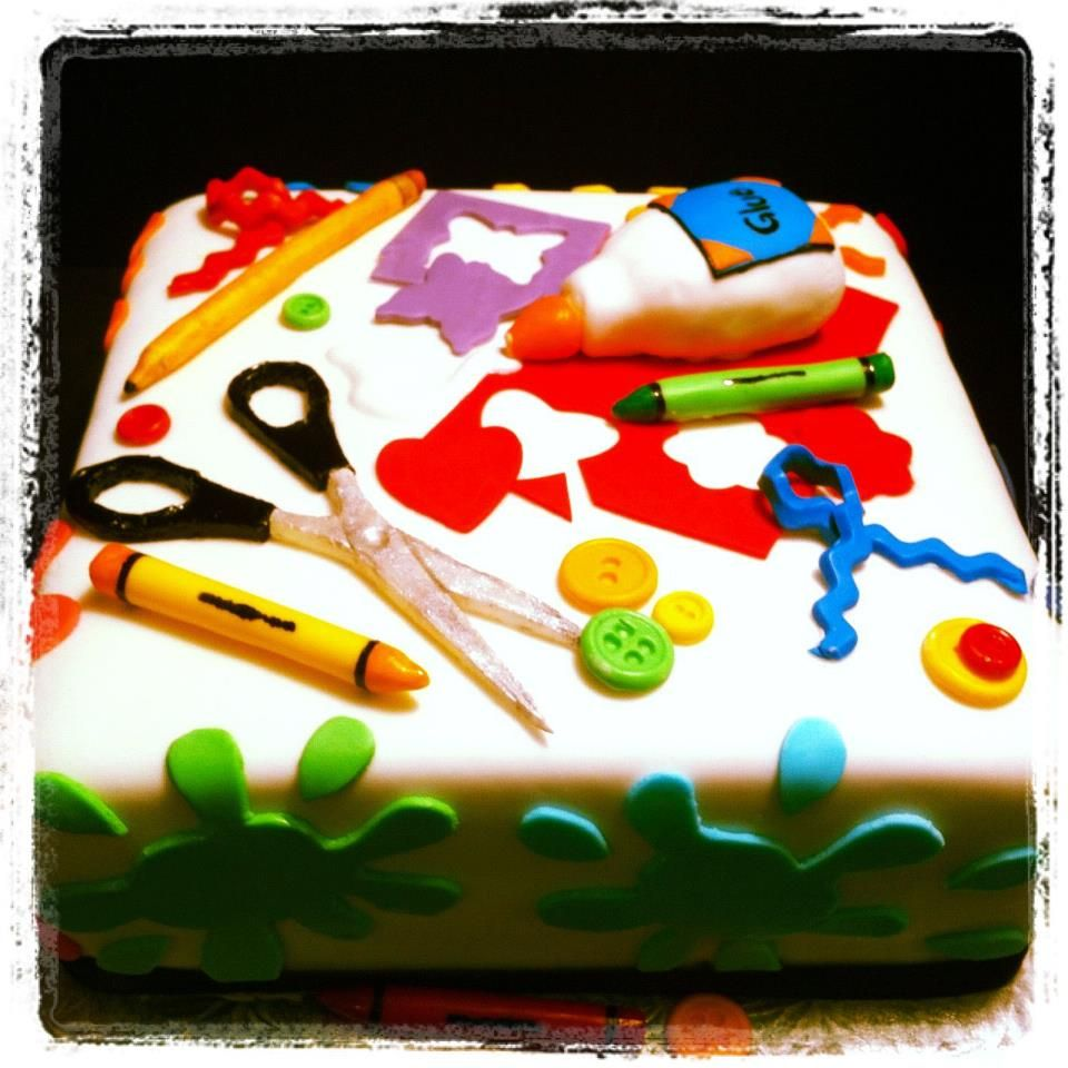 Arts and crafts party ideas - Craft Cake For A Craft War Birthday Party