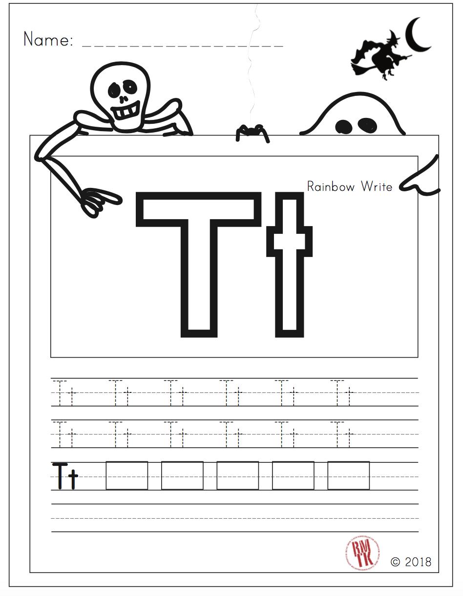 Letter T Halloween Kindergarten Freebies Kindergarten Skills Letter T [ 1218 x 948 Pixel ]