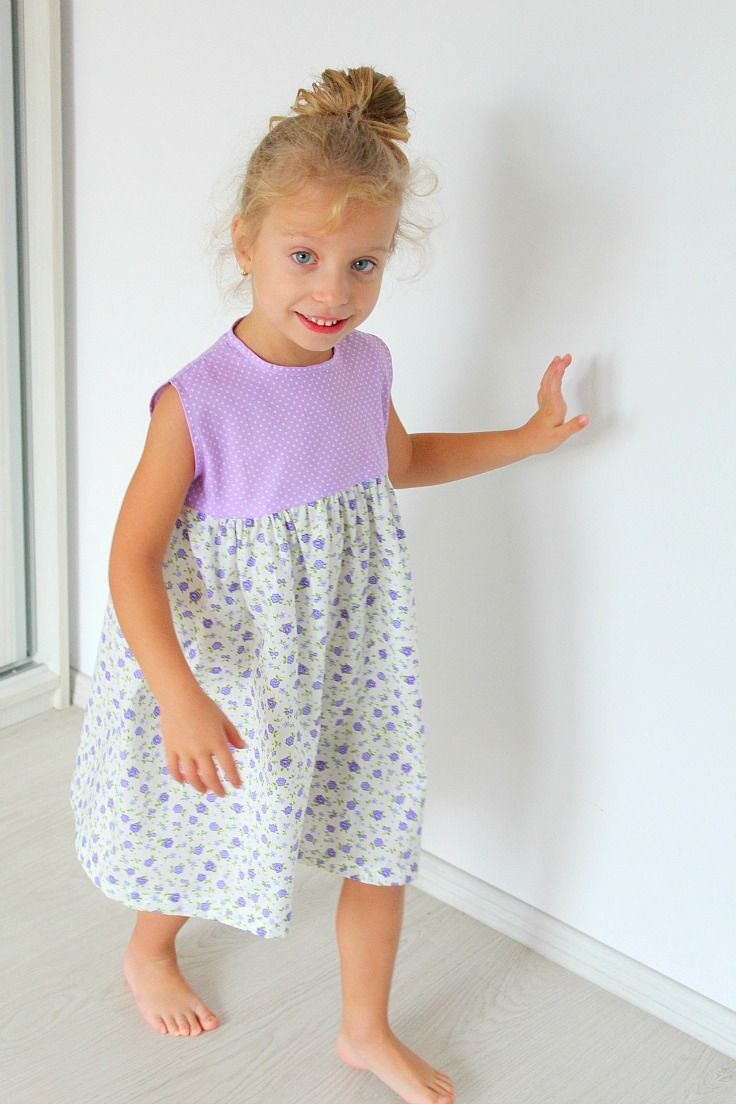 DIY Girl's Gathered dress sewing pattern