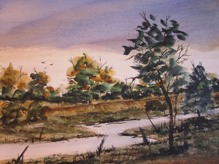 Might want to wet a line 353 - Mark Jenkins Watercolors - Paintings &… | ArtPal thumbnail