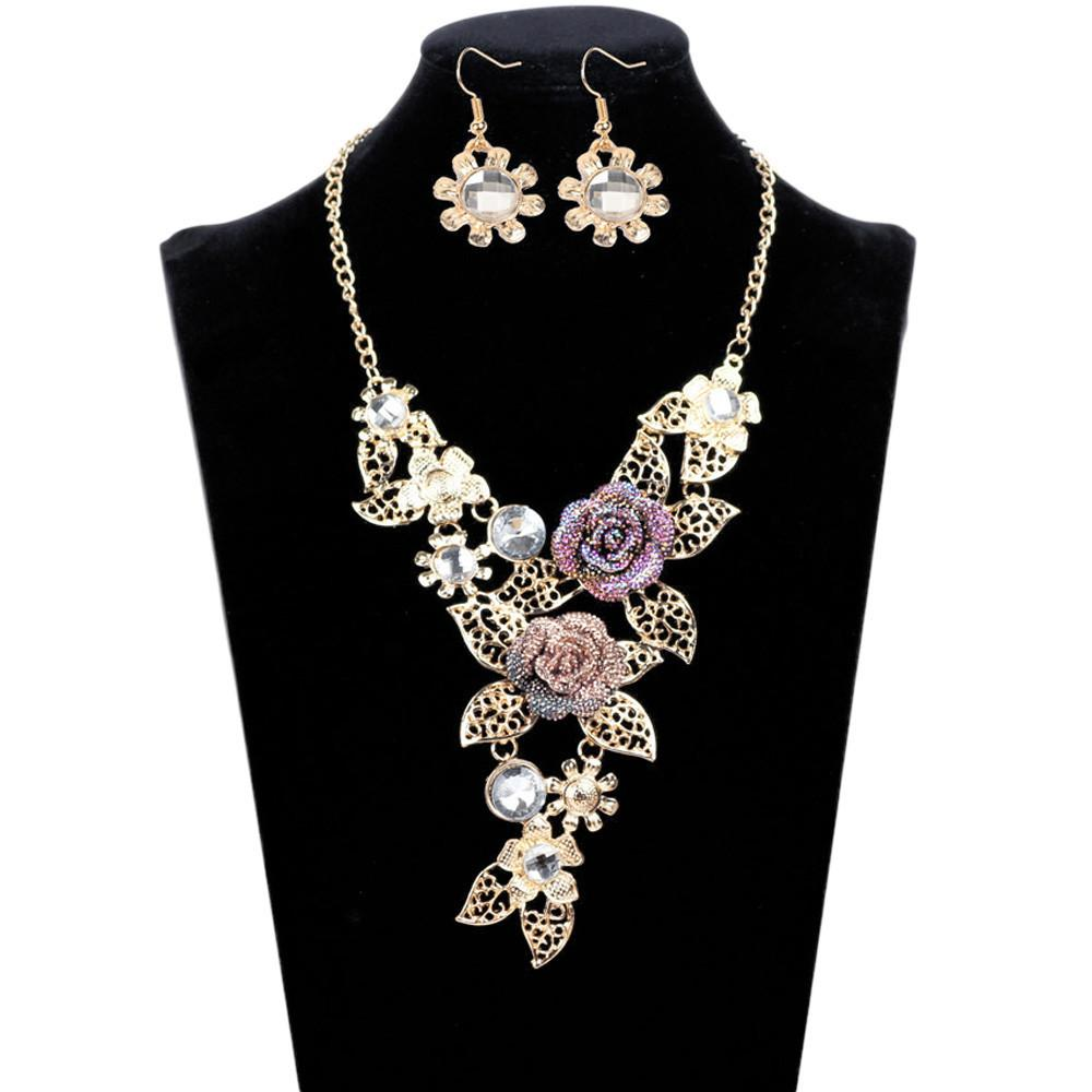 Elegant flowers necklace earrings jewelry set products
