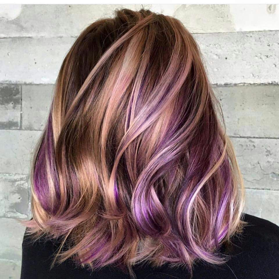 Blonde And Violet Highlights Hair Colour Design Hair Styles Long Hair Styles