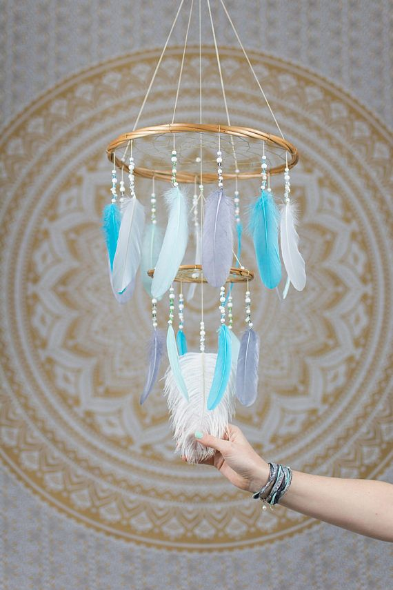 Baby blues dream catcher feather mobile nursery chandelier dream baby blues dream catcher feather mobile nursery chandelier dream catcher mobile boho mobile boho baby boy gift bohemian mobile chandelier aloadofball
