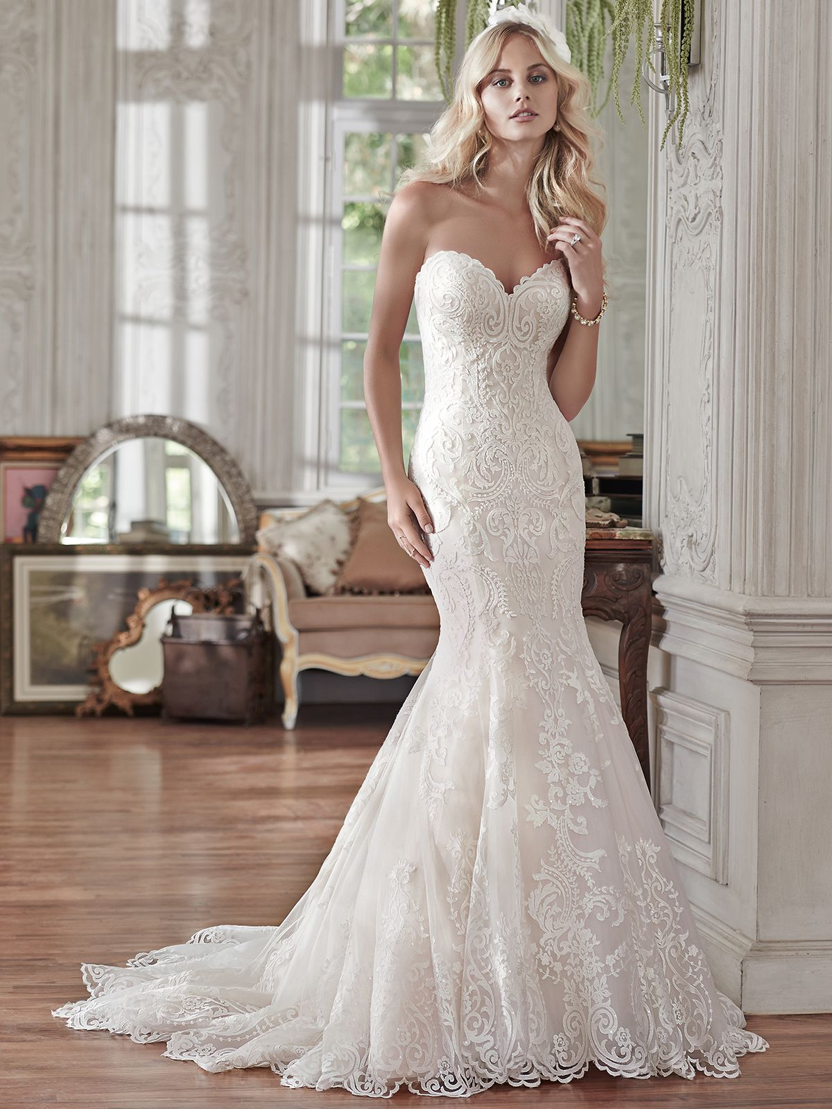 Lace sweetheart wedding dress  Maggie Sottero Rosamund Sweetheart Lace Fit And Flare Bridal Dress
