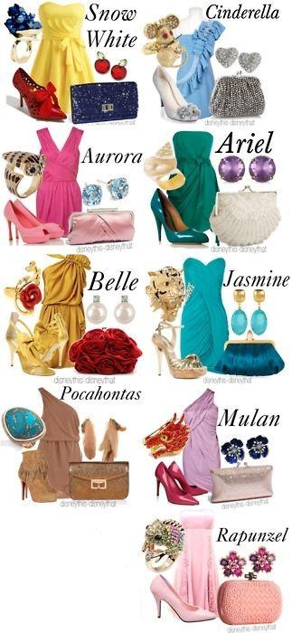 Disney dresses... such a cute idea for Bridesmaids