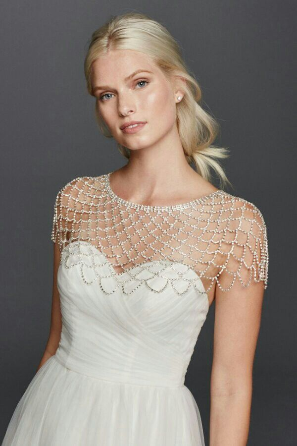 Crystal body jewelry capelet by david 39 s bridal the for Wedding dress with shrug
