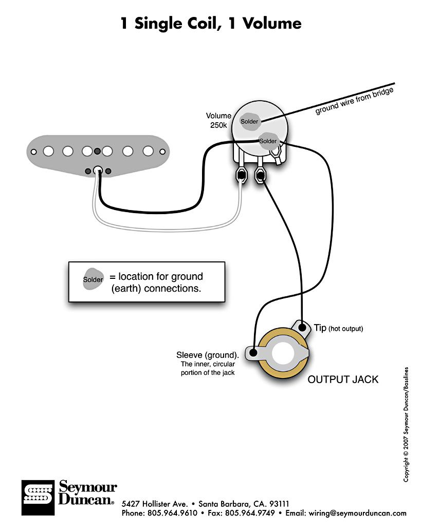 single coil no tone wiring - Google Search | Guitar pickups, Cigar box  guitar, Cigar box guitar plans | Guitar Wiring Diagrams 1 Pickup No Volume |  | Pinterest
