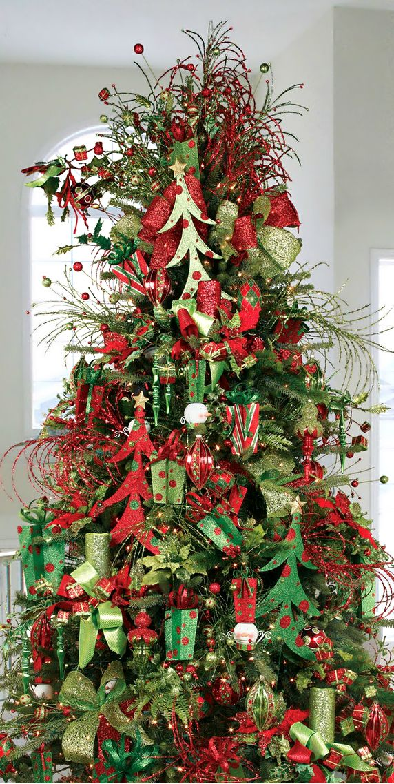 Christmas Tree ○ Red  Green Glitter Christmas Pinterest - decorative christmas trees
